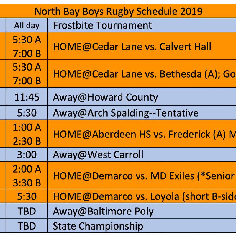 Boys' Spring 2019 Schedule