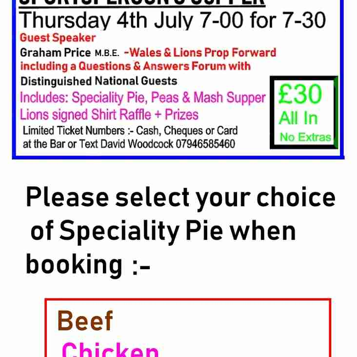 ROOF APPEAL Fund Raising Function THURSDAY 4th JULY