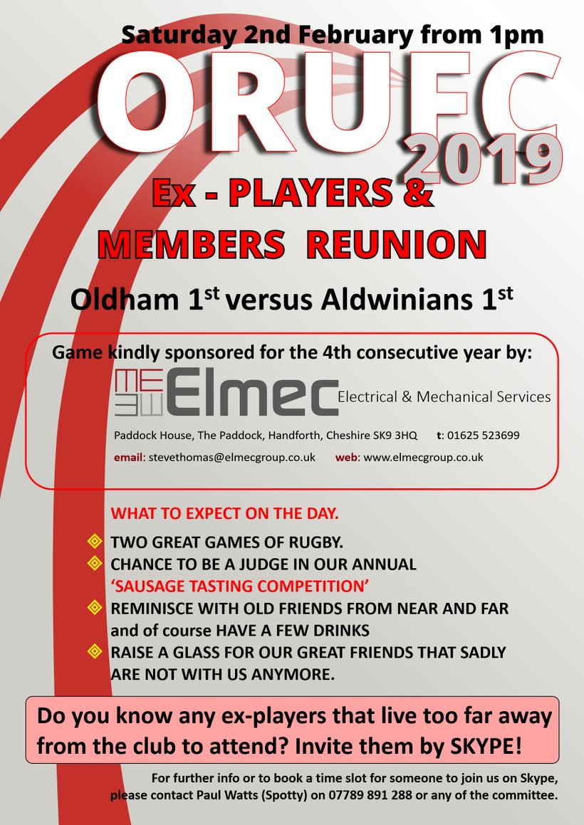 Oldham Rugby Union - Club Reunion 2019 is ON - News - Oldham