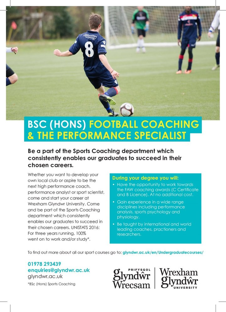 ARE YOU INTERESTED IN A FOOTBALL COACHING AND PERFORMANCE DEGREE