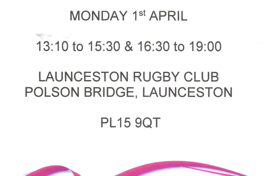 BLOOD DONATION SESSION 1ST APRIL AT LAUNCESTON RUGBY CLUB