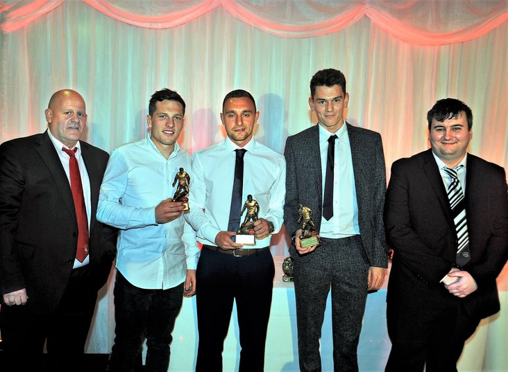 The EVO-STIK NPL Show's Supporters Player of the Year Dale Hopson, centre, flanked by the runners-up, Roy Soule and James Heyes