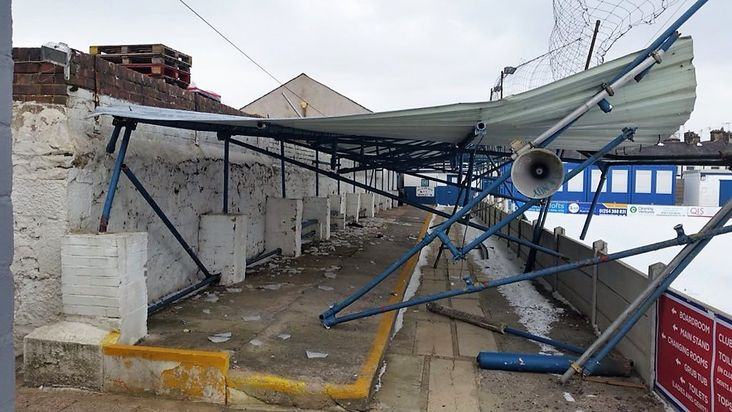 Flattened: Clitheroe's damaged stand