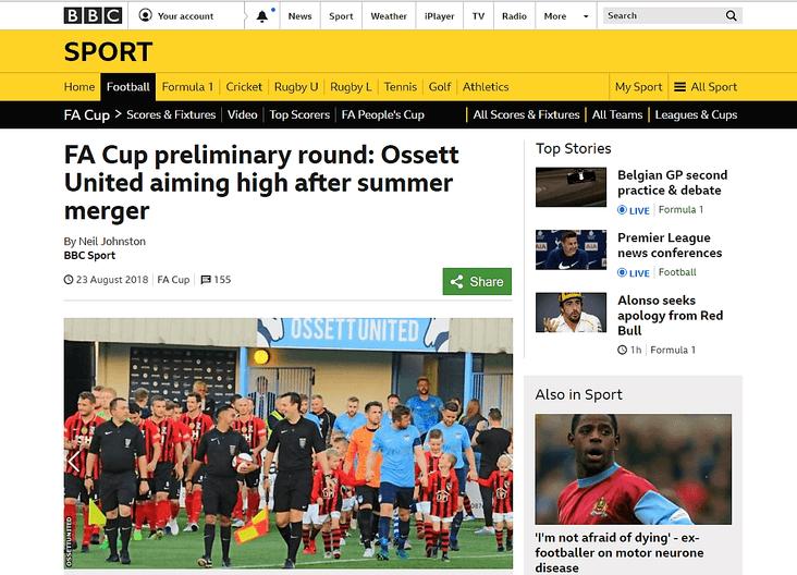 Featured: Ossett United's story on BBC Sport