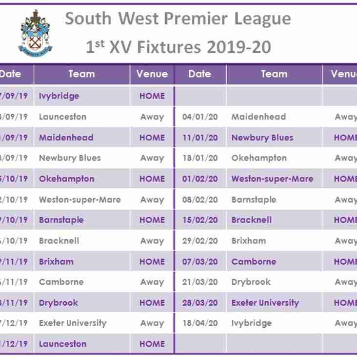 1st XV Fixtures 2019 -20