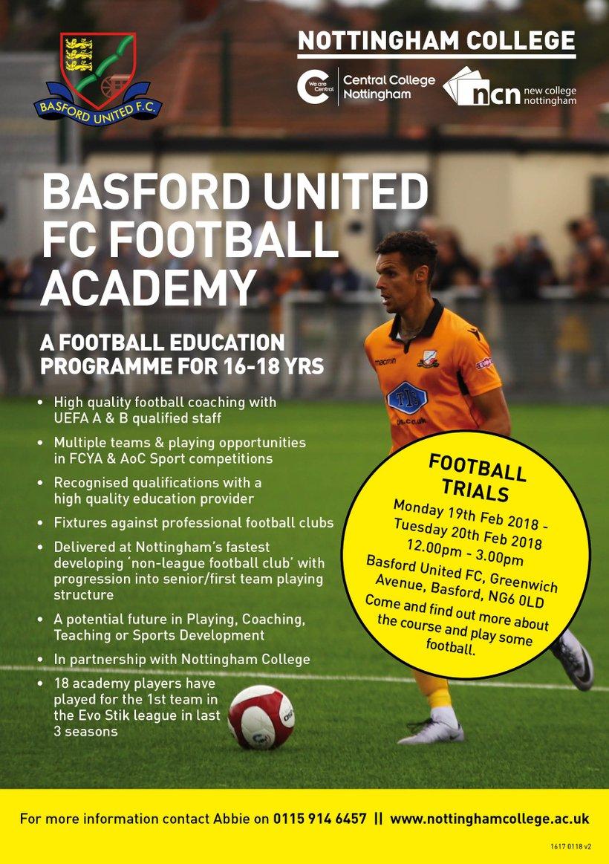 Basford Academy football trials 19 - 20 February 2018 - News