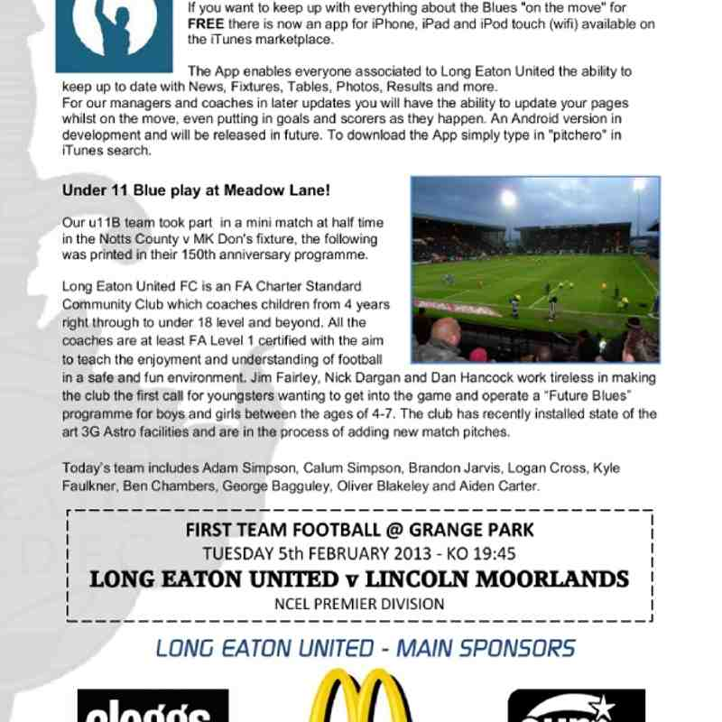 Hall Road Rangers Programme - Club photos - Long Eaton United FC