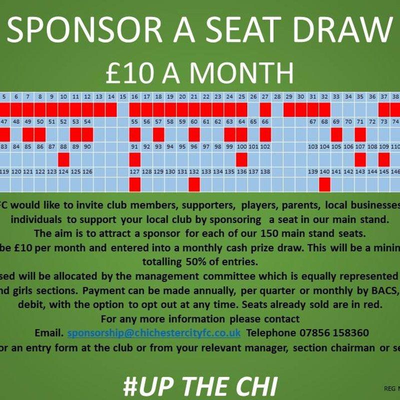 Sponsor a Seat Draw: £10 a Month