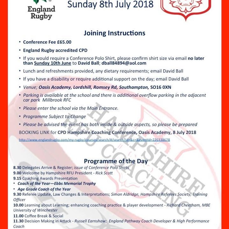 Hampshire RFU Coaching Conference July 8th 2018.<