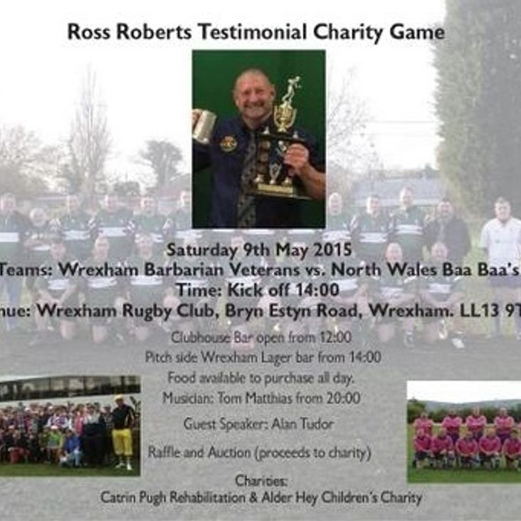 Ross Roberts Testimonial charity match this Saturday<