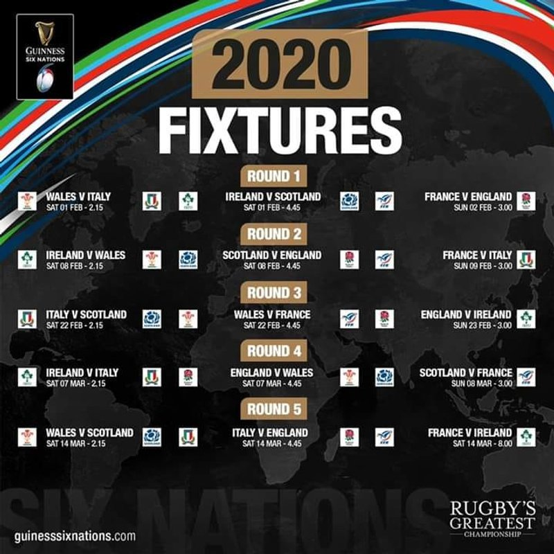 Six Nations fixtures for 2020 announced - get booking those hotels now!