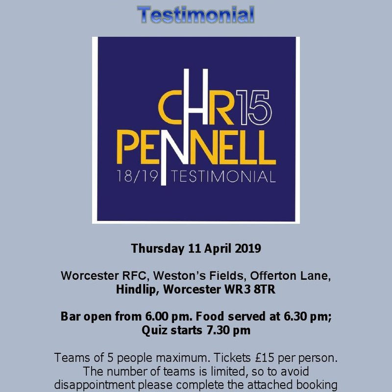 Chris Pennell Testimonial Quiz Night