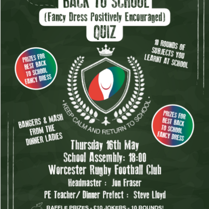 Wooden Spoon's Back to School Quiz Thursday 16th May