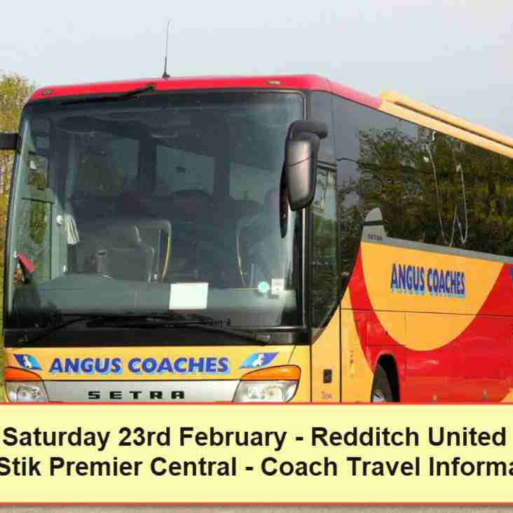 Coach travel to Redditch United on Saturday 23rd February  – Seats available