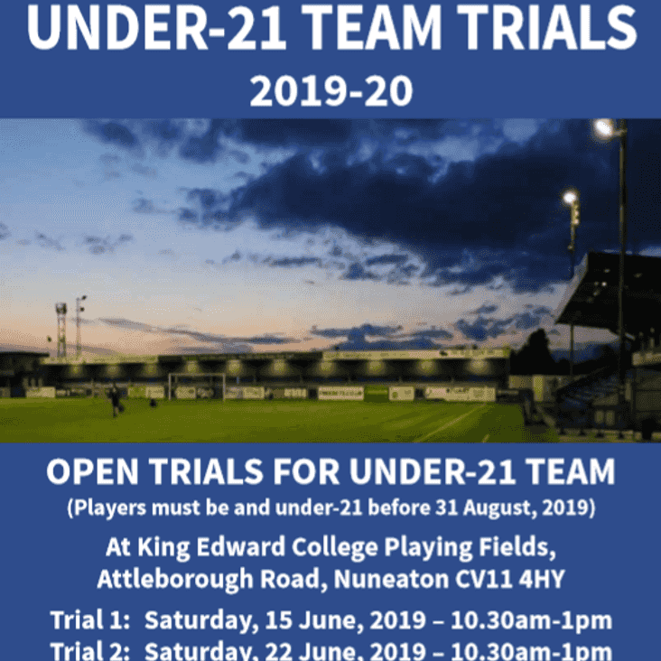 UNDER 21's UPDATE: Division Line-Up Confirmed & Final Trial Set for Saturday
