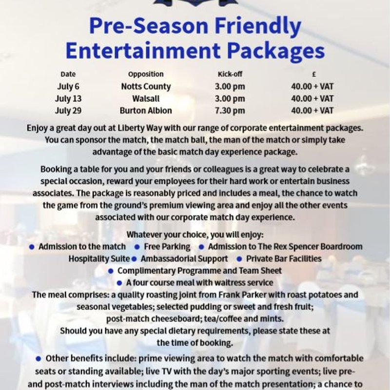 PRESEASON: Corporate Hospitality NOW JUST £25!
