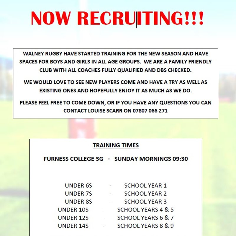 Youth and Junior Training Times