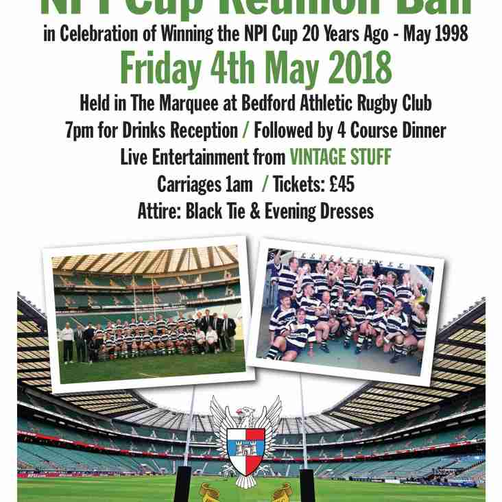NPI Cup Reunion Ball - Friday 4th May 2018