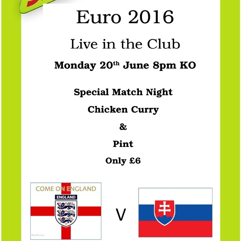 England vs Slovakia - Live and enjoy a curry!