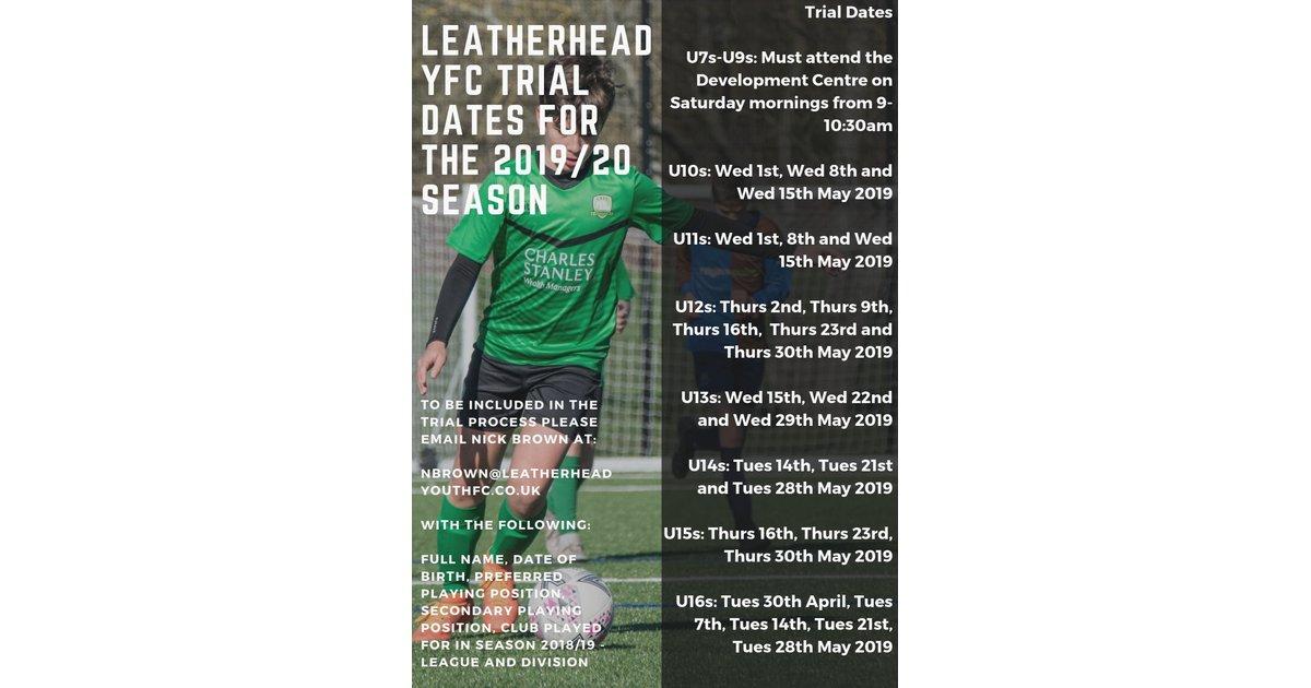 Trial dates announced for the 2019/20 season - News - Leatherhead