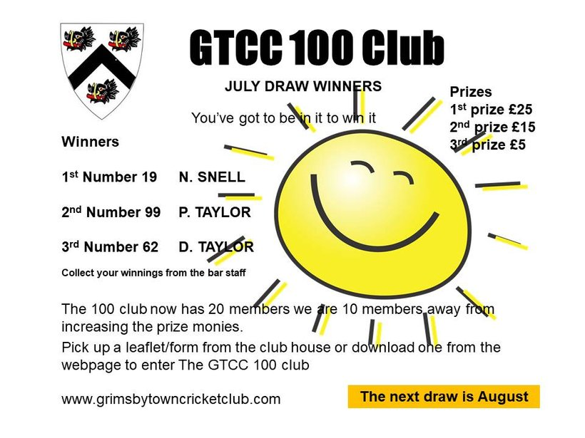 GTCC 100 Club Draw for July - News - Grimsby Town Cricket Club