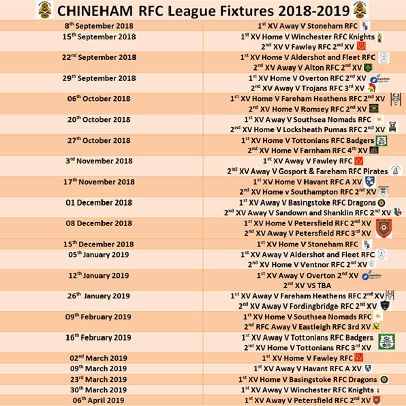 Chineham RFC League Fixtures 2018-2019