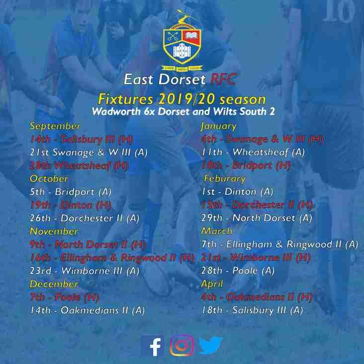 East Dorset RFC 2019/20 Fixtures