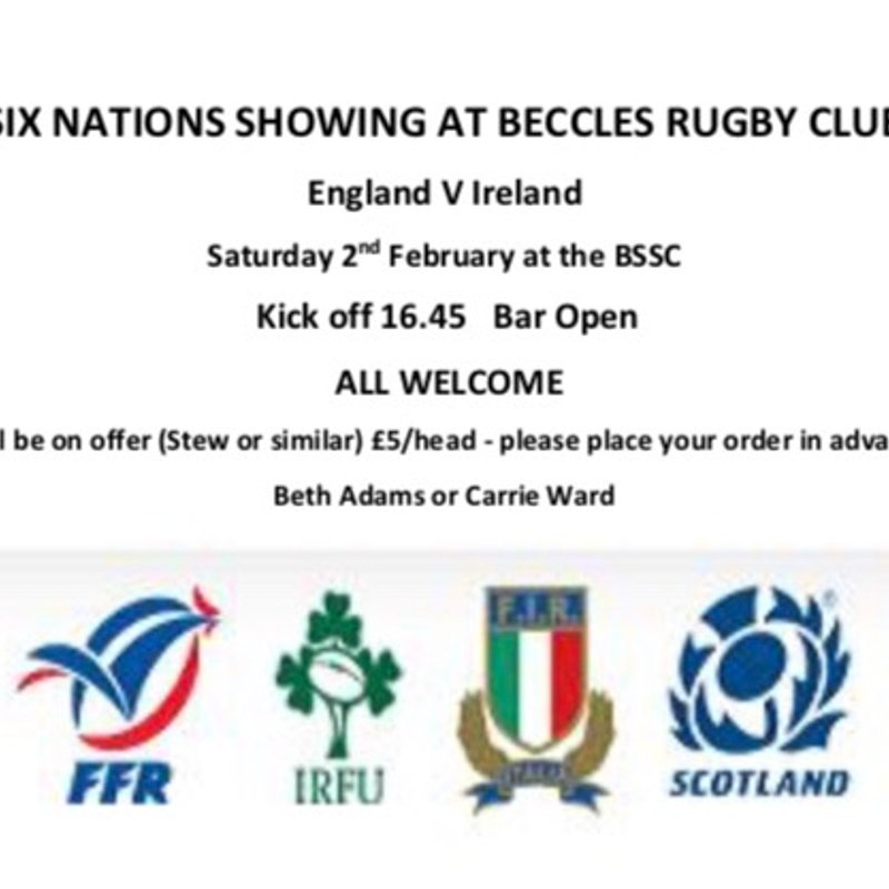 Six Nations on at club house.