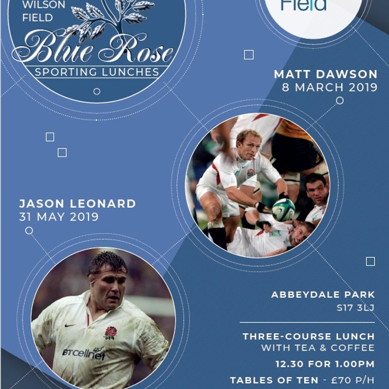 Wilson Field Blue Rose Sporting lunches March & April 2019