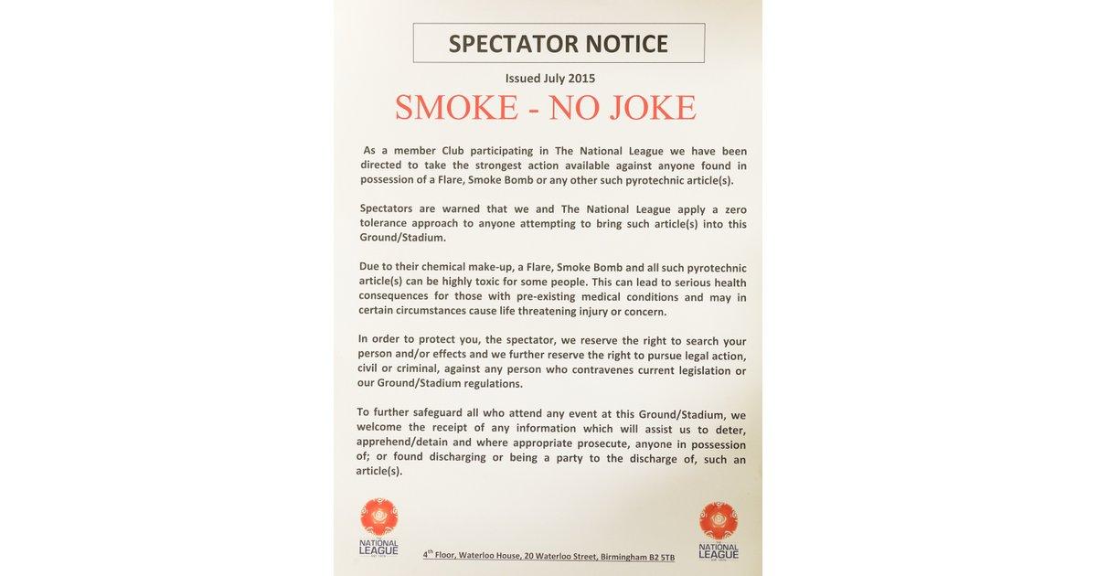 Spectator Notice - Smoke - No Joke - News - Truro City Football Club