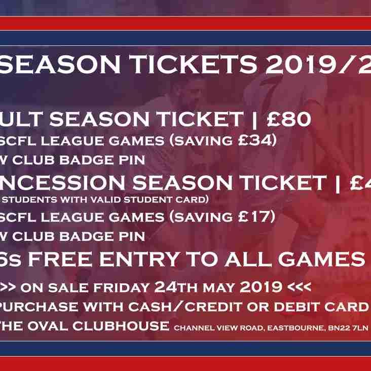 2019/20 Season Tickets on sale Friday!