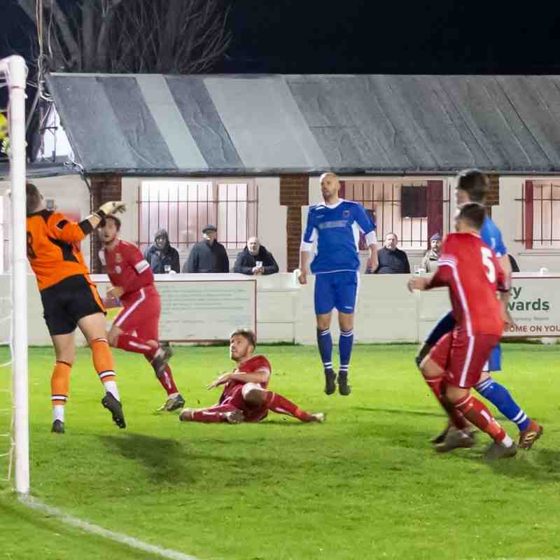 Harry Earls makes a good save although the offside flag was already raised
