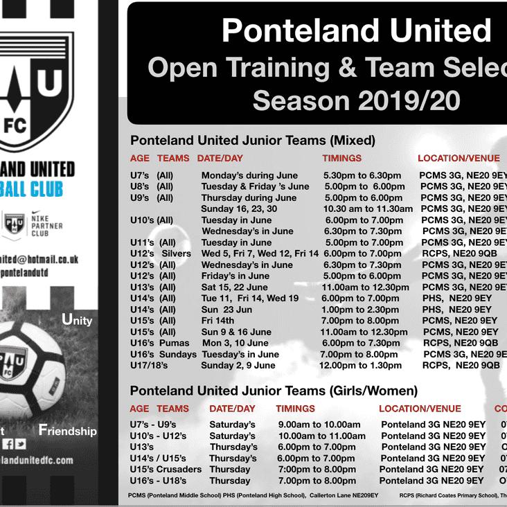 Season 2019/20 - Open Training