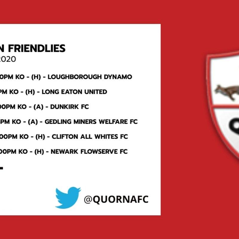 Quorn AFC's Pre-Season Schedule has been released!
