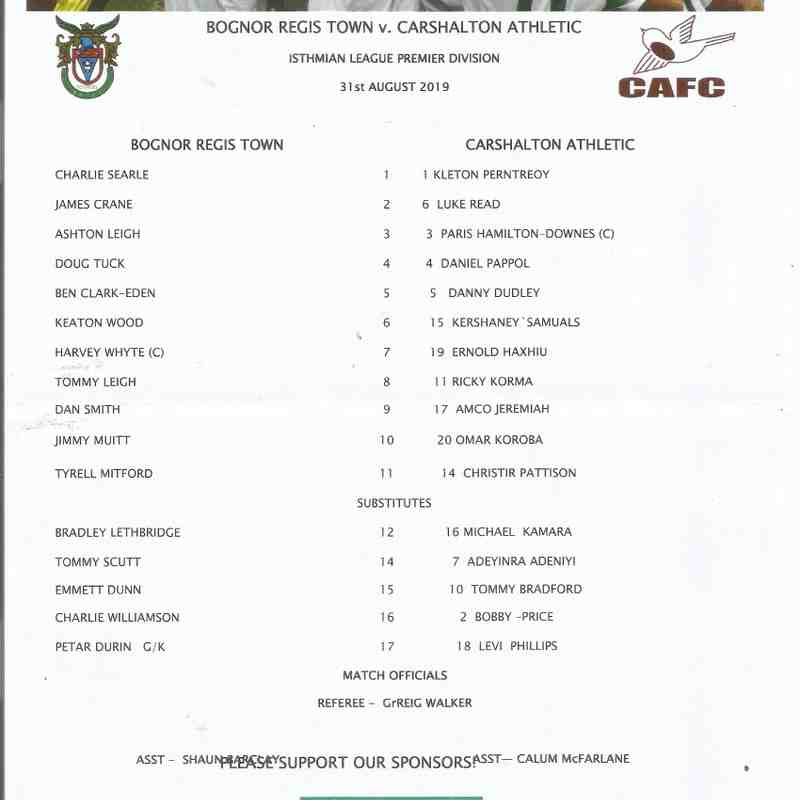 Bognor Regis Town Vs Carshalton Athletic 31/08/2019