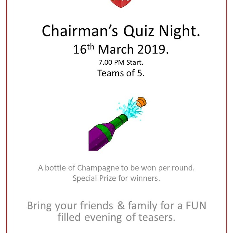 Hockey Club Quiz night - Sat 16th March