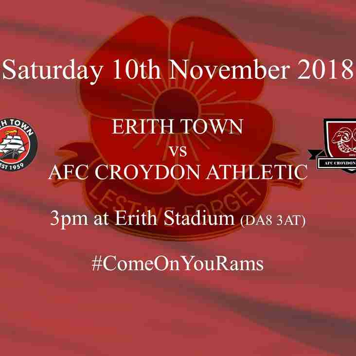 Erith Town Play Host to League Clash on Remembrance Weekend