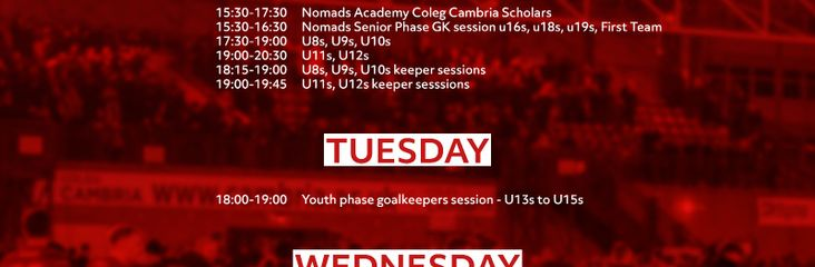 Nomads Academy Pre Season Training Nights and Times Confirmed<