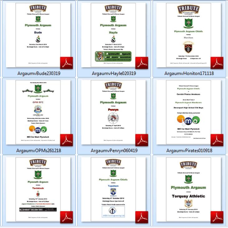 2018-19 Match Programmes On Line