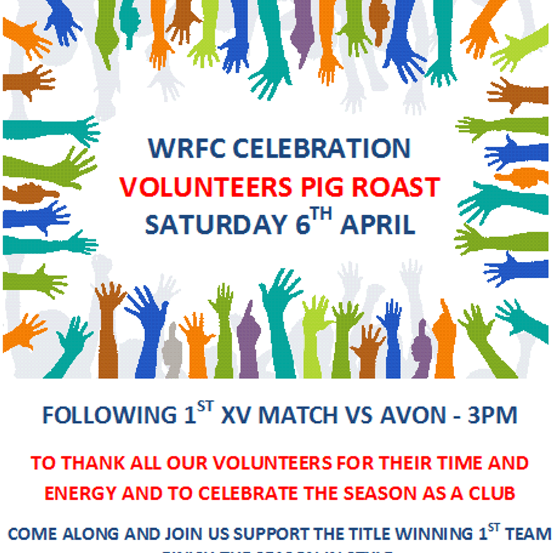 VOLUNTEERS CELEBRATED AT WRFC