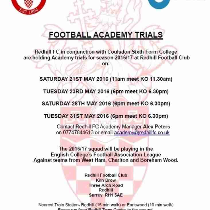 Redhill FC Academy Trial Dates Announced!!!