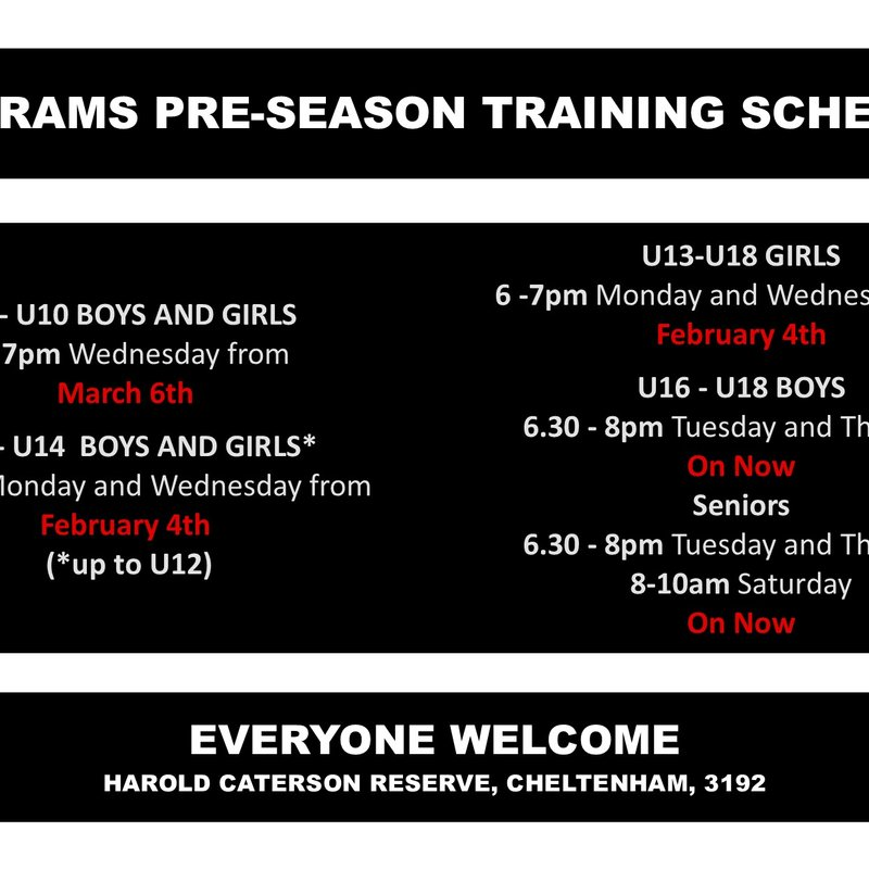 2019 Preseason training schedule - Seniors session added on Saturday morning