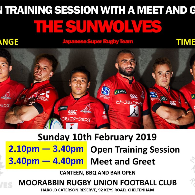 TIME CHANGE: Open Training Session plus Meet & Greet the SUNWOLVES - Sunday 10th February