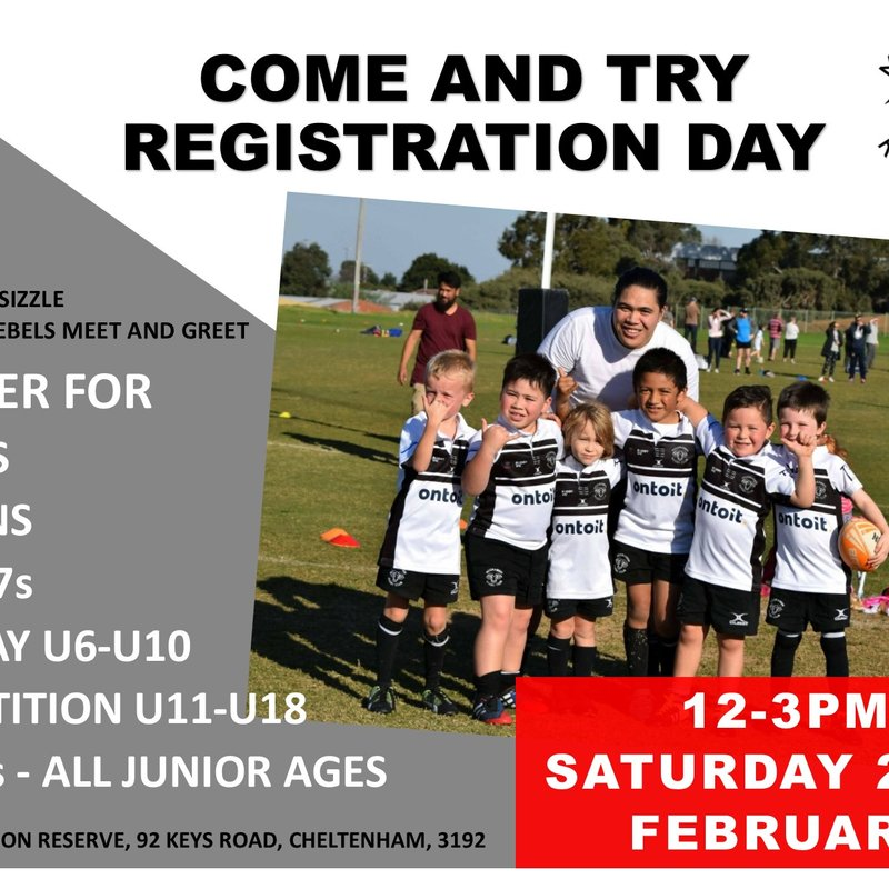 Come  and Try / Registration Day 12-3PM SATURDAY 23RD FEBRUARY