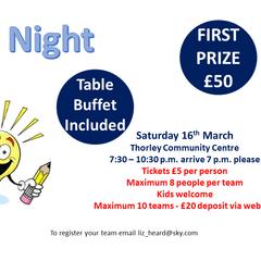 Quiz Night - Saturday 16th March