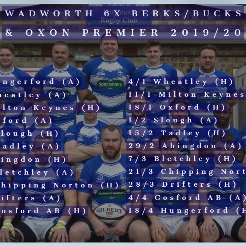 1st XV rugby fixtures 2019/20