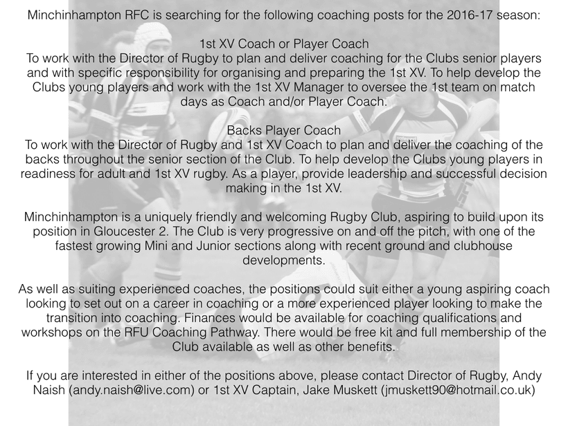 new coaching positions advertised news minchinhampton rfc