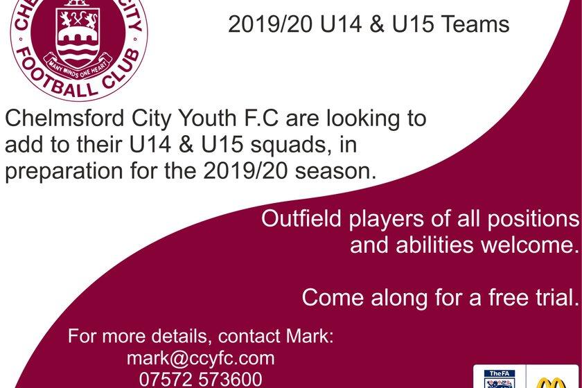 U14/U15 Players Wanted! Open Training Day Saturday 20th July 10:00-11:00