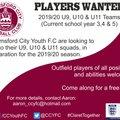 U9, U10, U11 Players Wanted!