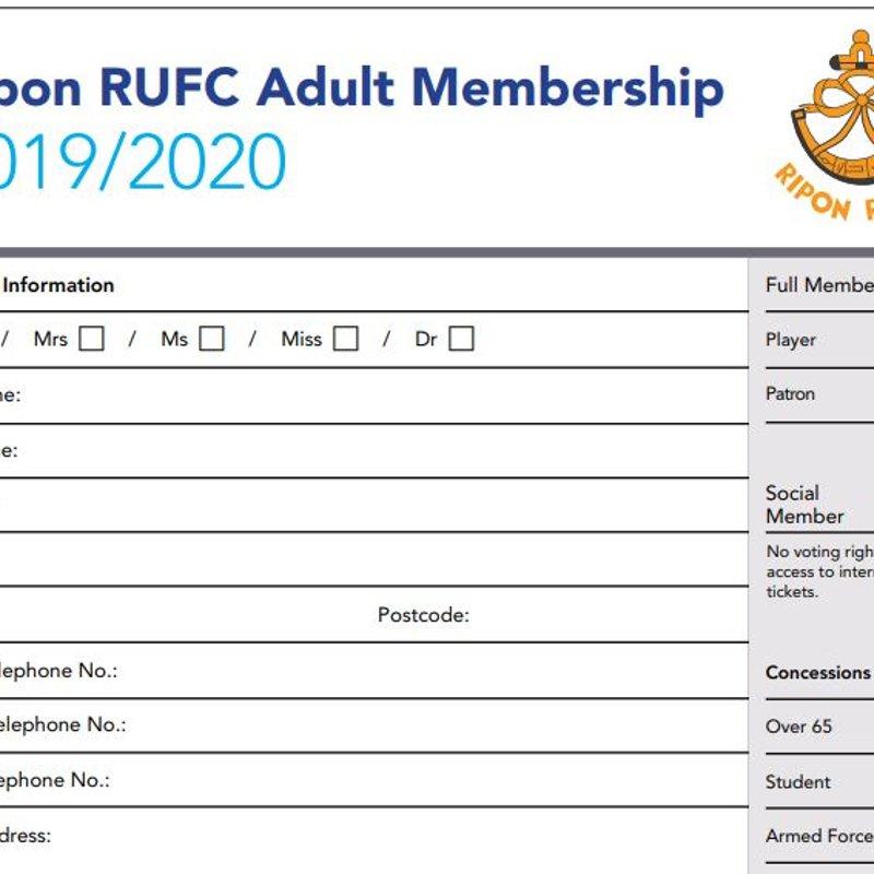 Membership Subs 2019/2020